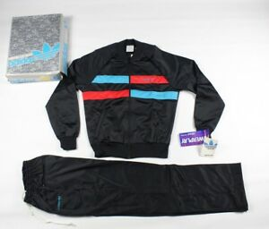 NOS Vintage 80s Adidas Run DMC Spell Out Warm Up Track Suit Black Mens Small USA