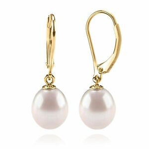 14K Yellow Gold Plated Shell Pearl Leverback Huggie Drop Earring AAA+ Quality