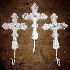 LARGE WHITE DECORATIVE CAST IRON CROSS SET OF 3 HOOKS, 8 inch tall 4 inch wide