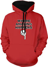Where Amazing Happens Finger Pointing Down Crotch Sex Two Tone Hoodie Sweatshirt