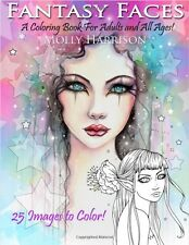 Fantasy Faces Adult Colouring Book Anime Manga Art Girls Fairy Cute Flowers