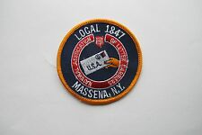VINTAGE LOCAL 1847 MASSENA,N.Y,U.S.A  EMBROIDERY APPLIQUE PATCH