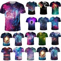 Women Men Couple 3D Galaxy Universe T-Shirt Crewneck Short Sleeve Tee Casual Top