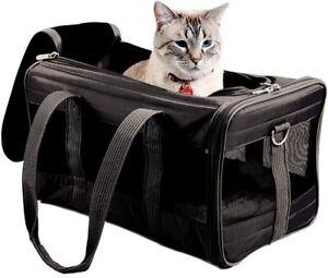 Sherpa Original Deluxe Large Pet Carrier Black Soft Side Cat Dog Travel Bag