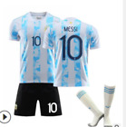 Mens Home Kids Football Kits Blue Strips Shirt Soccer Jersey Training Suit DS