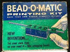 Vintage BEAD-O-MATIC Printing Kit w/ Box make own Rubber Stamps 1950's