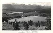 Jasper Alberta~Pyramid & Patricia Lakes~Jasper Nat'l Park~1940s Real Photo~RPPC