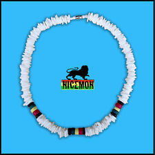 "Puka Shell Necklace Rasta Colors Choker Screw Clasp Hawaii Jamaica 18""/46 cm"