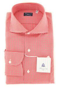 New $425 Finamore Napoli Red Micro-Check Shirt - Slim - (FN85174)