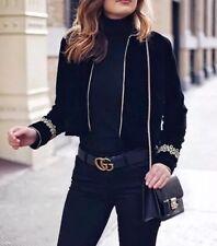 ZARA Black Velvet Blazer With Gold Appliqué Embroidered Military Jacket Large L