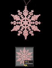 6 Pale Blush Pink Snowflake Glitter christmas Tree Hanging Decorations FREE P&P