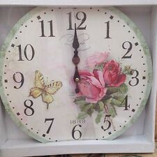 Paris 1889 Butterfly & Roses Wall Clock New & boxed