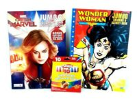 Captain Marvel Wonder Woman Jumbo Coloring Activity Book Crayons Lot of 2