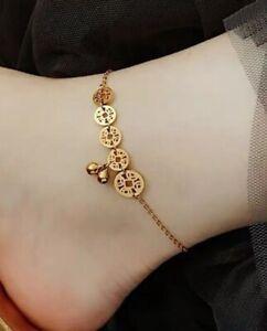 "Women Gold Plated Titanium Stainless Steel Lucky Coin Bell Anklet Bracelet 8-10"""