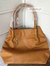 J Francis - Instant Impact Camel Leatherette Tote Bag (15x14x6 in)