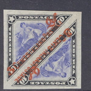 Liberia 1910, 3c on 10c official triangle, IMPERF pre-print paper fold  #O70