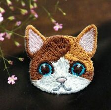 Embroidered Cloth Iron On Patch Sew Motif Applique Cute Cat Head DIY Patch ♫