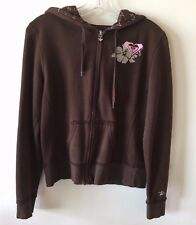 ROXY Hoodie Zip Front Hibiscus Brown Girl's Size Large