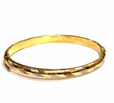 "14k tri colored green rose yellow gold bangle bracelet womens 7.3g 7"" vintage 6m"