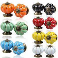 New Vintage Pumpkin Ceramic Knobs Kitchen Cabinet Door Drawer Handles Pulls