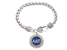 Alpha Delta Pi Sorority Crystal Circle Silver Bracelet Jewelry Rush Little Gift
