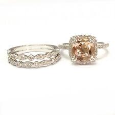 3 ring set8mm cushion morganite engagement ring art deco band 14k white gold 6 - Morganite Wedding Ring Set