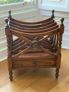 Antique reproduction book or magazine rack in mahogany