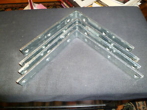 "New Lot (4) Stanley 8"" x 1-1/4"" Heavy duty Steel L Shape Shelf Braces/brackets."
