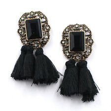 BEAUTIFUL ANTHROPOLOGIE BLACK STONE BLACK TASSELS DROP EARRINGS- NEW