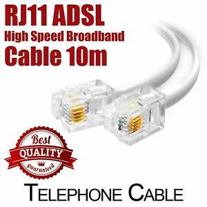 RJ11 ADSL 2+ High Speed Plug Telephone Broadband Modem Landline 10m Cable White
