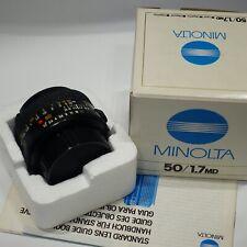 Minolta MD 50mm 1:1.7 lens BOXED, Mint, fits X700 X500 XD5 XD7 XG-M camera etc