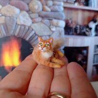 TABBY CAT Dollhouse realistic OOAK miniature 1:12 handsculpted handmade
