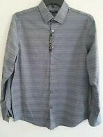 Alfani Mens Medium/Large Gray Lines Long Sleeve Stretch Button Down Shirt NWT