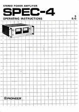 Operation Instructions for Pioneer Spec-4