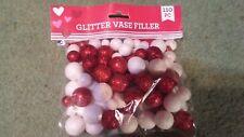 Valentine's Day Red White Glitter Foam Balls for Vase Fill or Scatter
