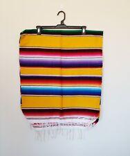 Mexican Falsa Blanket Small Sarape Yoga Mat Yellow Aztec Striped Design
