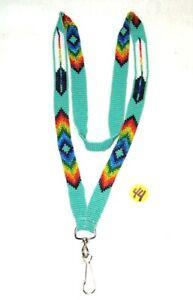 "Beaded Lanyard  Eagle Feather design 30"" L w/  Swivel clip Aqua Green #44"