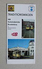 Straßenbahn Faltblatt Traditionswagen 30 VEB Verkehrsbetriebe Brandenburg