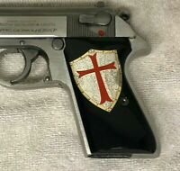 Walther PPK grips made from Black PMMA with Templars shield made of silver.