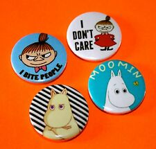 SET OF 4 LITTLE MY THE MOOMINS BUTTON BADGES