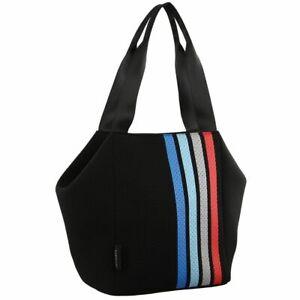 Milleni Neoprene Tote Stripe Black Bag Scuba Feel Handbag