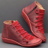 Women Arch Support Ankle Boots Multi Colors Hot-Flat-Heel Side Zip Casual
