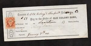 US #R6c, on dividend check, Old Colony & Newport Railway Co., 1865.