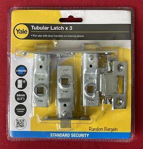 "Yale Tubular Latch 64mm (2.5"") for Internal Doors x 3 - Chrome Finish"