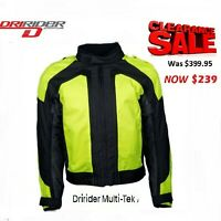 DRIRIDER MULTI TEK HI VIZ motorcycle jacket NEW Fluro Yellow Motorbike 2XL 8XL