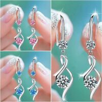 Elegant 3 Colors 925 Silver Drop Earrings for Women Jewelry White Sapphire Gift
