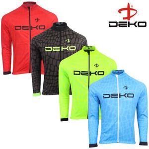 DEKO Mens Long Sleeve Cycling Jersey Thermal Jacket Full Zip Fleece Winter Top