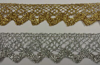 Lace Gold or Silver Flat Metallic Lurex Trim Width 40mm