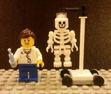 Lego NEW Female Doctor Nurse Hospital Minifigure With Hanging Skeleton Stand