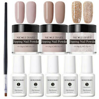 9Pcs NICOLE DIARY Dipping Powder Nail Glitter Dip Liquid Brush Polish Starter Ki